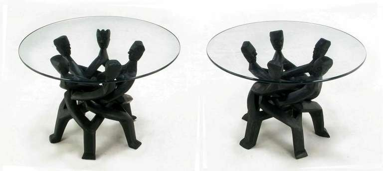 Pair Figural Carved And Ebonized African Interlocking Side