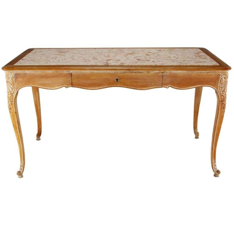 French 1920s Cassard et Cie Limed Wood and Ammonite Marble Writing Table For Sale