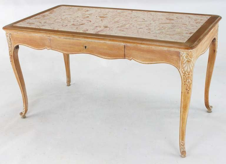 Carved 1920s Cassard et Cie Limed Wood and Ammonite Marble Writing Table For Sale