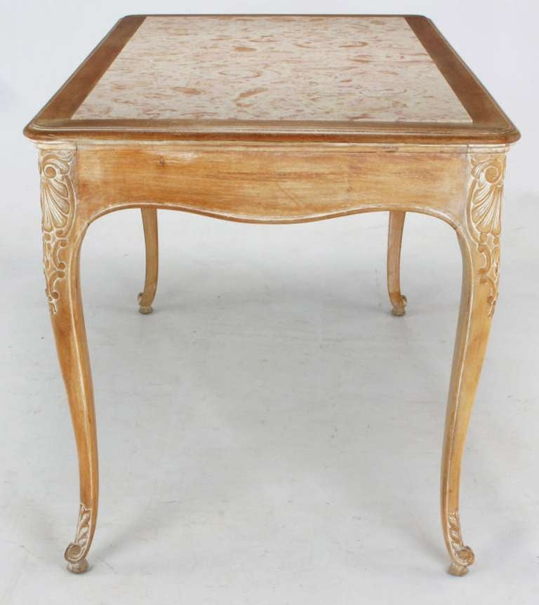 1920s Cassard et Cie Limed Wood and Ammonite Marble Writing Table In Good Condition For Sale In Chicago, IL