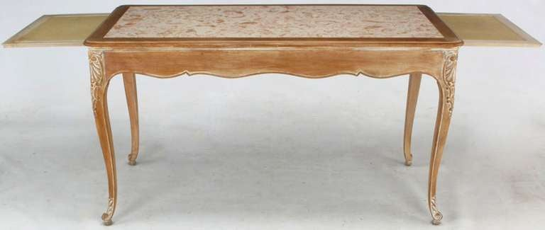 20th Century 1920s Cassard et Cie Limed Wood and Ammonite Marble Writing Table For Sale