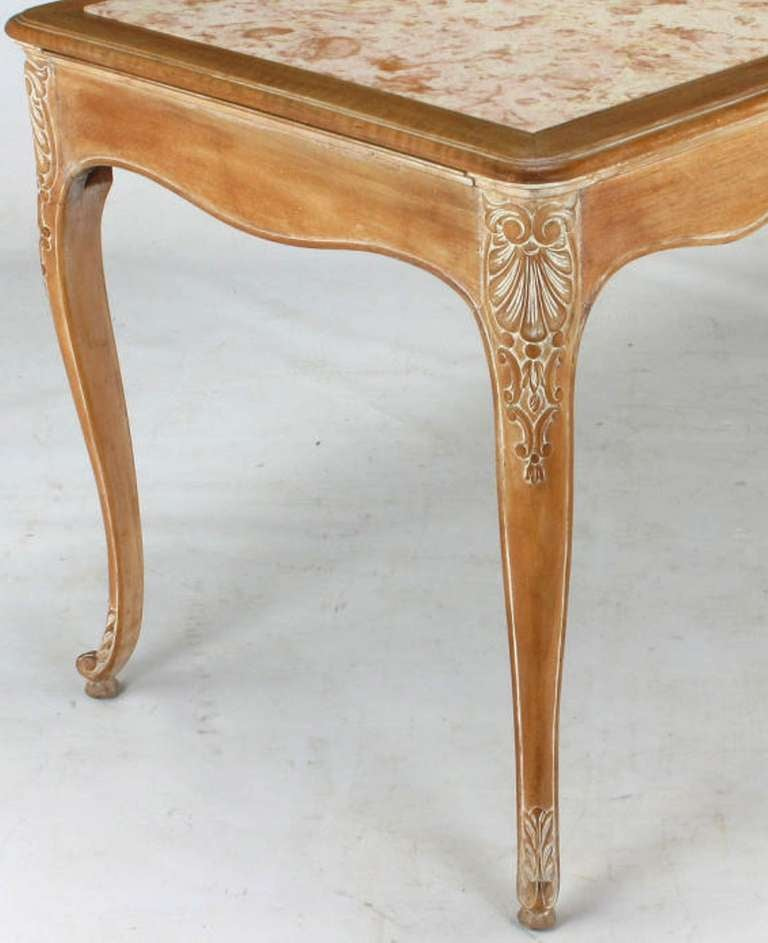 1920s Cassard et Cie Limed Wood and Ammonite Marble Writing Table For Sale 1