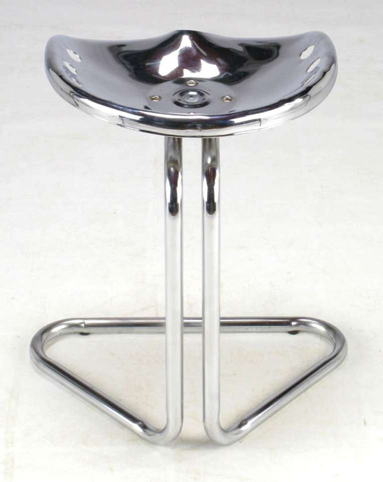 American Cantilevered Chrome Tractor Seat Stool For Sale