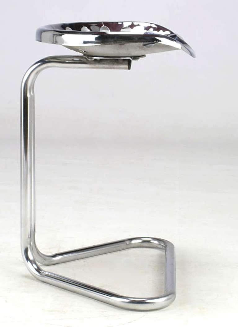 Cantilevered Chrome Tractor Seat Stool For Sale 1