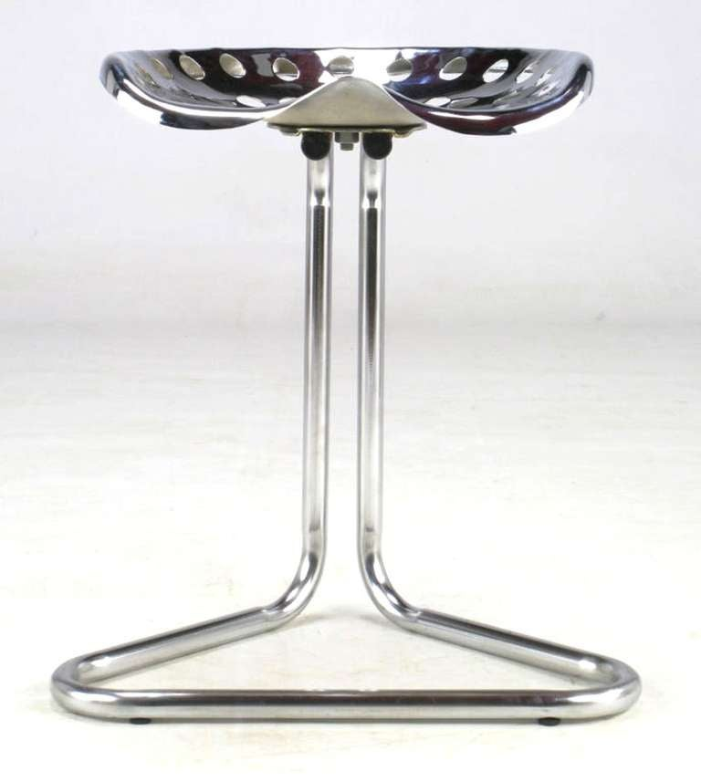 Late 20th Century Cantilevered Chrome Tractor Seat Stool For Sale