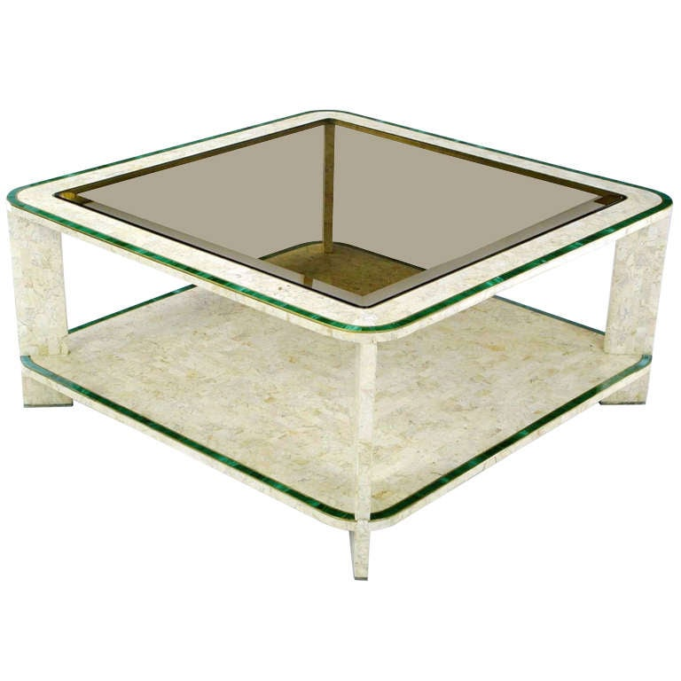 Maitland Smith Tessellated Fossil Stone And Malachite Coffee Table At 1stdibs