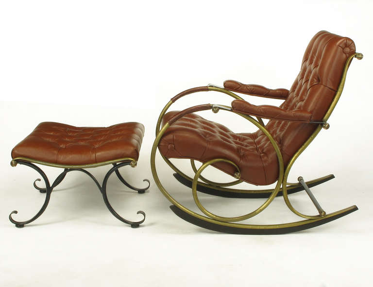 And wood rocking chair by woodard leather brass and wood rocker by - Quot American Innovative Quot Leather And Brass Rocker With