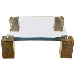 """Brazilian Red Marble Column Coffee Table With 3"""" Thick Lucite Top"""