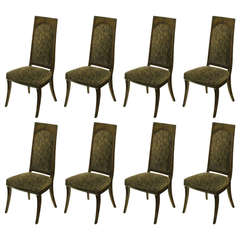 Set of Eight Mastercraft Amboyna Burl and Paisley Velvet Dining Chairs