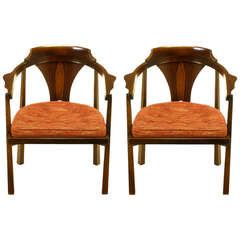 Pair Edward Wormley Sculpted Rosewood & Walnut Arm Chairs