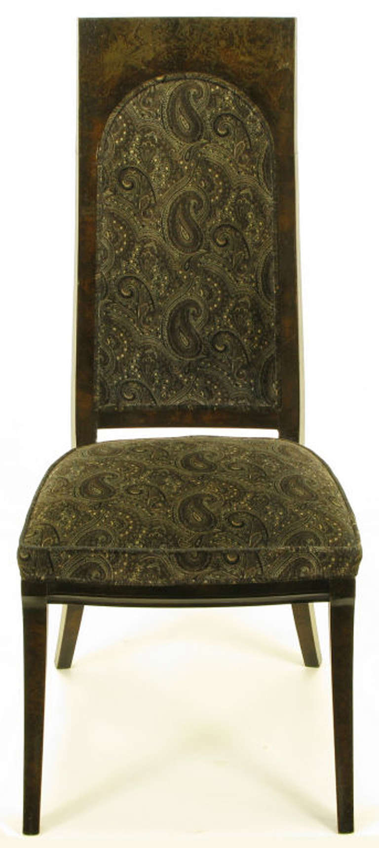American Set of Eight Mastercraft Amboyna Burl and Paisley Velvet Dining Chairs For Sale