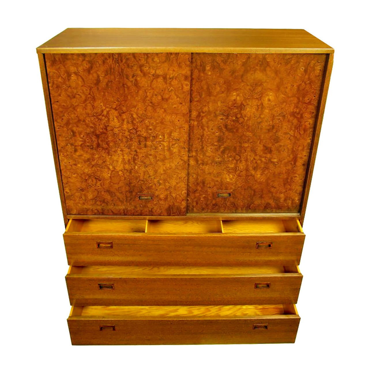 American Harvey Probber Olive Ash Burl, Rosewood and Mahogany Gentleman's Chest For Sale