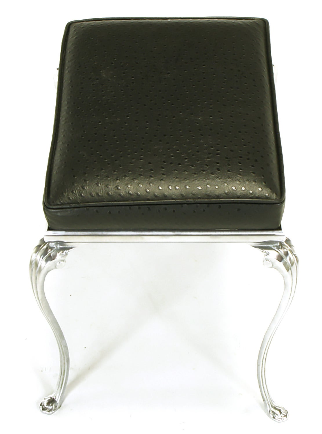 Polished Aluminum Cabriole Leg Bench With Ostrich Embossed