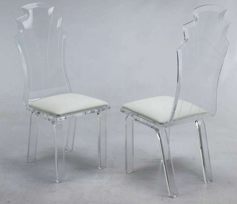 American Six Deco Revival Lucite Dining Chairs For Sale