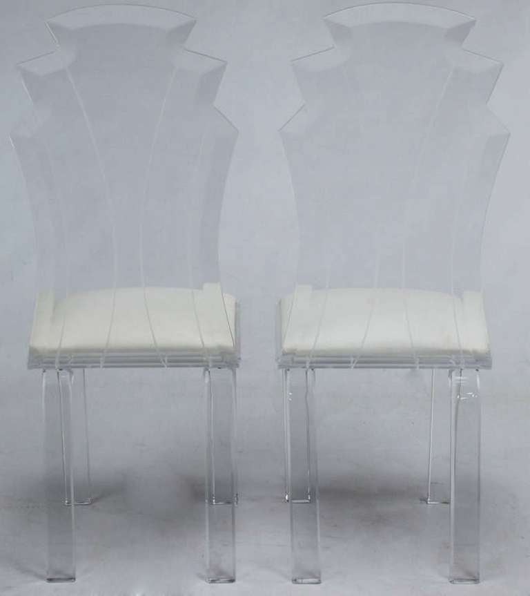 Six Deco Revival Lucite Dining Chairs For Sale 1