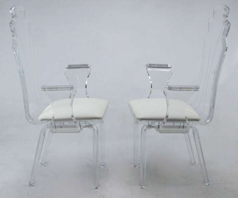 Late 20th Century Six Deco Revival Lucite Dining Chairs For Sale