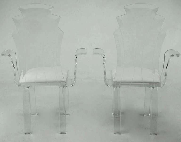 Acrylic Six Deco Revival Lucite Dining Chairs For Sale