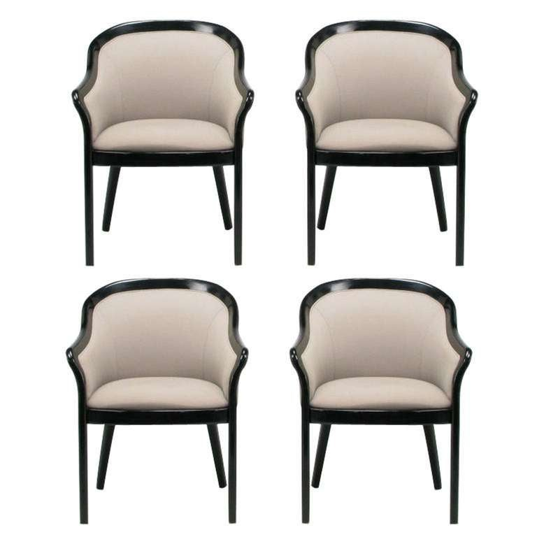 four italian barrel back black and dove grey arm chairs at