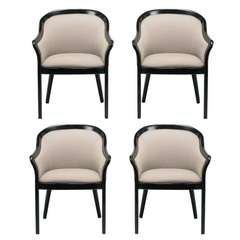 Four Italian Barrel Back Black and Dove Grey Armchairs