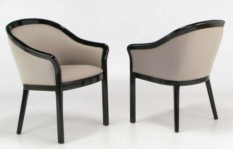 Four Italian Barrel Back Black and Dove Grey Armchairs In Good Condition For Sale In Chicago, IL