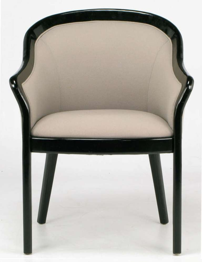 20th Century Four Italian Barrel Back Black and Dove Grey Armchairs For Sale