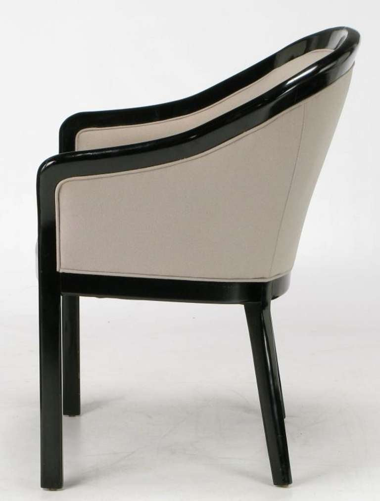 Wood Four Italian Barrel Back Black and Dove Grey Armchairs For Sale
