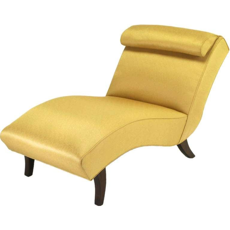 sinuous 1950s chaise longue in saffron silk damask at 1stdibs