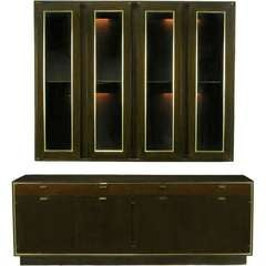 Harvey Probber Mahogany Sideboard With Floating Wall Cabinet