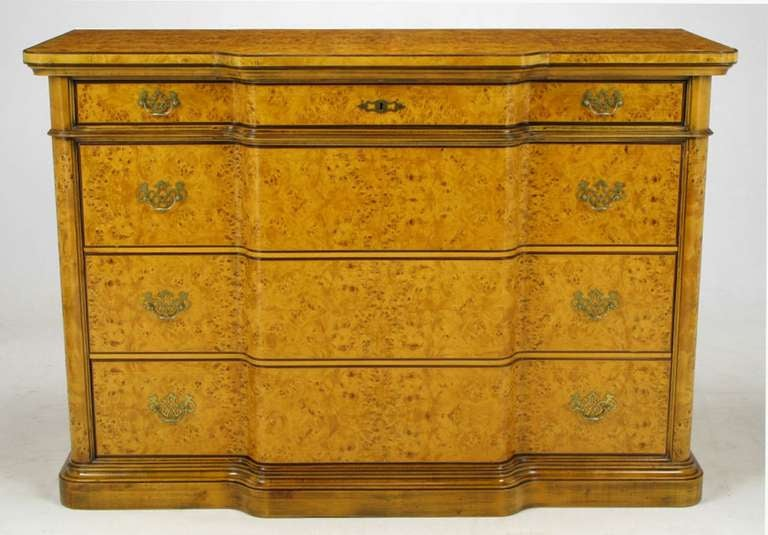 1960s Italian Bird's-Eye Maple Breakfront Commode In Excellent Condition  For Sale In Chicago,. Antique Birdseye Maple Furniture ... - Antique Birdseye Maple Furniture Antique Furniture