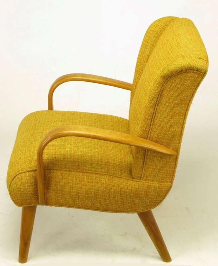 Maple Wood and Saffron Upholstered Lounge Chair, circa 1940s 5