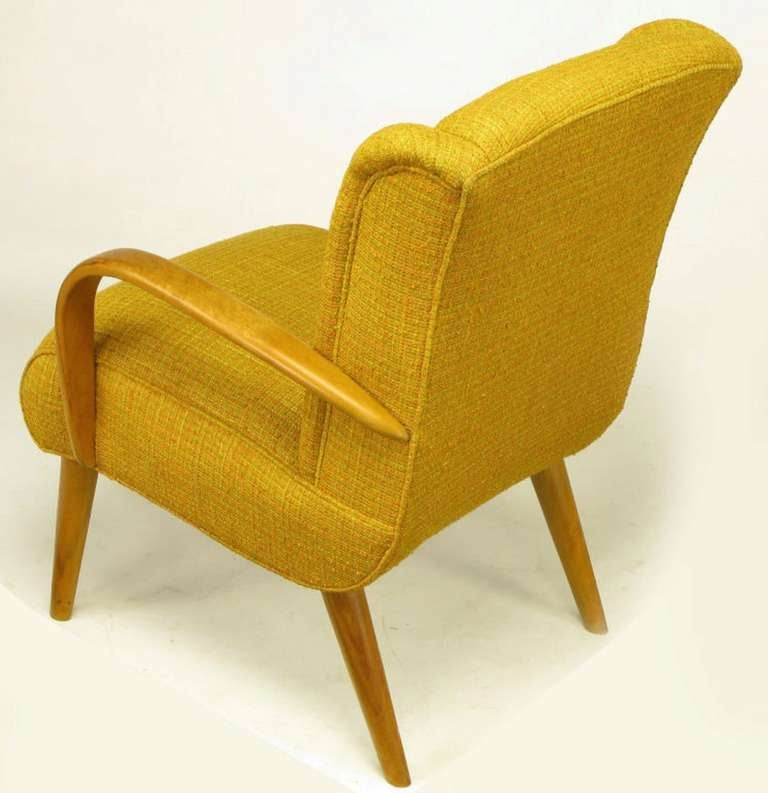 Maple Wood and Saffron Upholstered Lounge Chair, circa 1940s 6