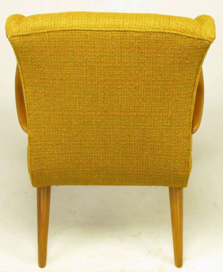 Maple Wood and Saffron Upholstered Lounge Chair, circa 1940s 7