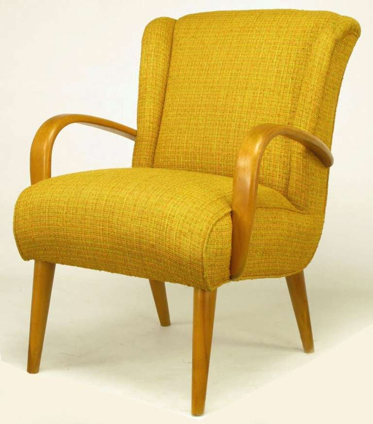 Circa 1940s maple wood and saffron upholstered lounge for 1940s furniture design
