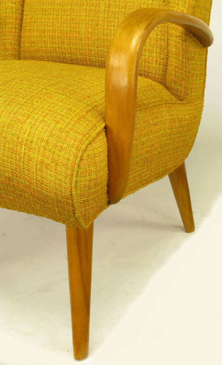 Maple Wood and Saffron Upholstered Lounge Chair, circa 1940s 8
