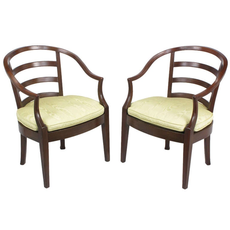 Pair of Bert England for Baker Mahogany Barrel Back Armchairs For Sale