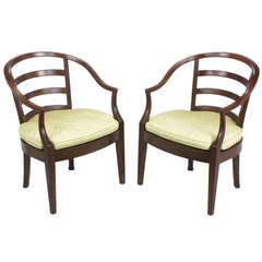 Pair of Bert England for Baker Mahogany Barrel Back Armchairs