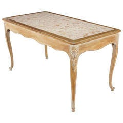 1920s Cassard et Cie Limed Wood and Ammonite Marble Writing Table