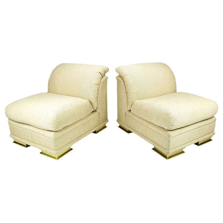 Pair of Henredon Deco Revival Slipper Chairs in Taupe Silk and Brass
