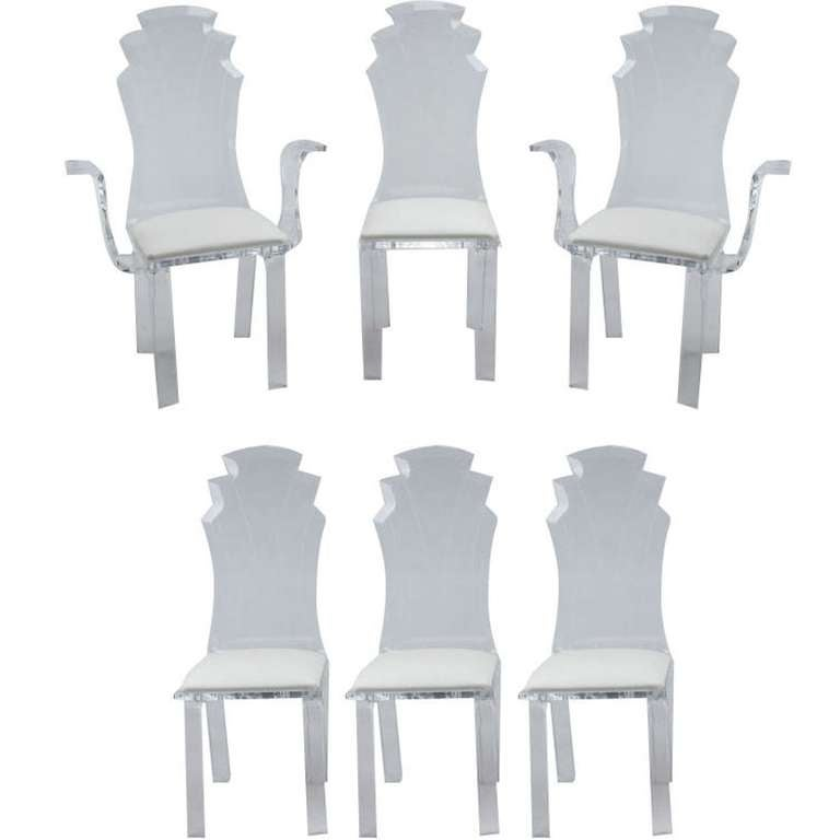 Six Deco Revival Lucite Dining Chairs For Sale