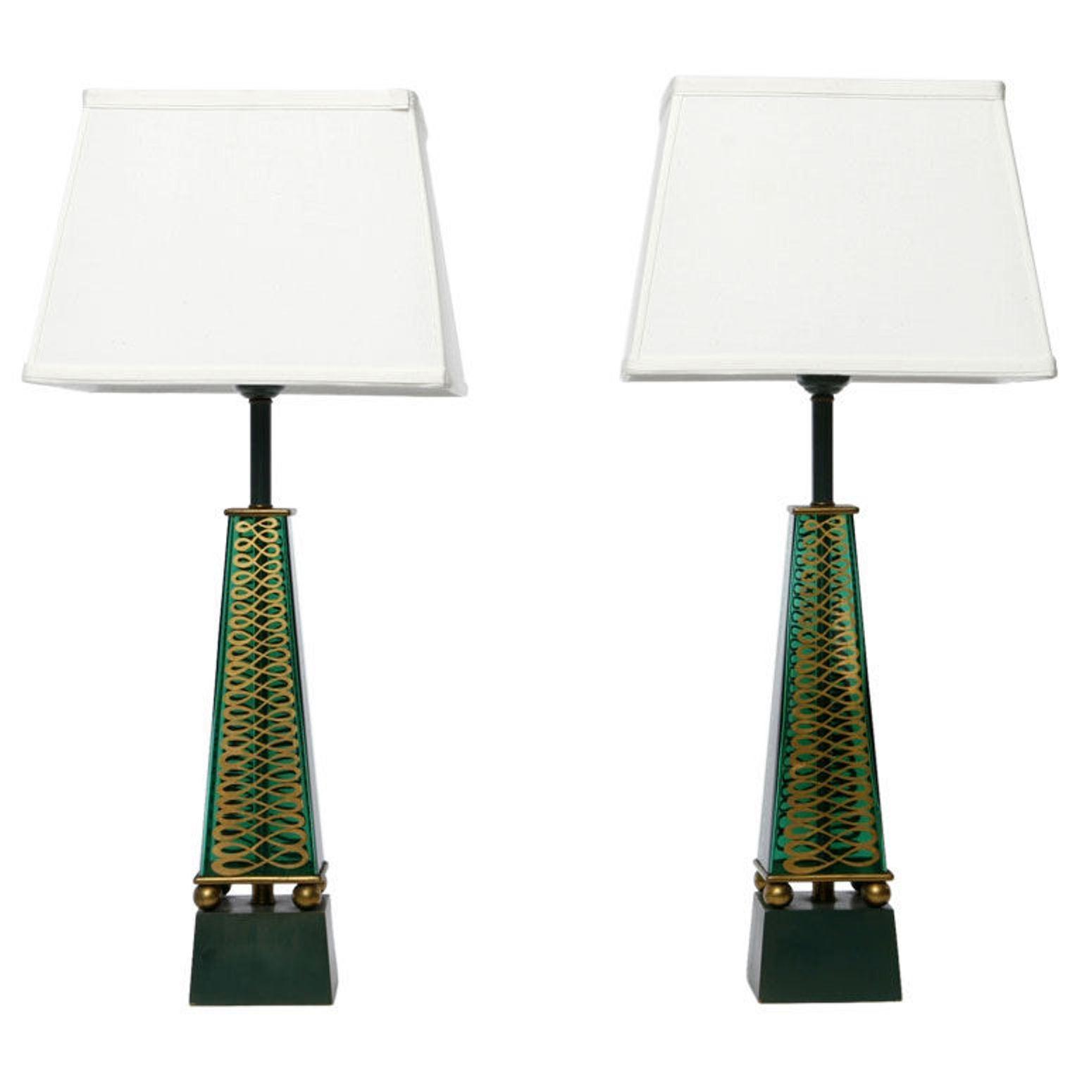 Pair of 1940s Lightolier Emerald Green Glass Obelisk Lamps