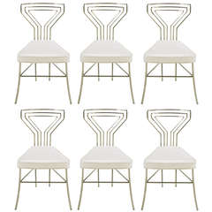 Six Geometric Back Dining Chairs in Polished Steel