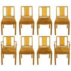 Eight Edward Wormley For Dunbar Mahogany & Cane Dining Chairs