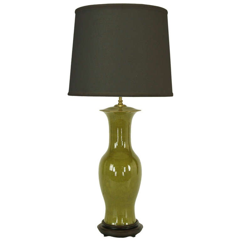 Warren Kessler Olive Green Crackle-Glaze Table Lamp For Sale at 1stdibs