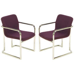 Pair of Chrome and Violet Wool Sled Armchairs