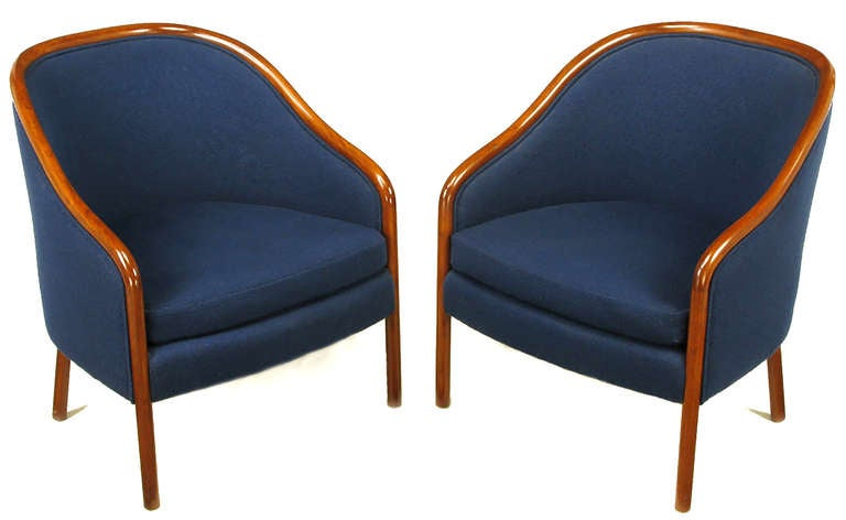 Pair of Ward Bennett Walnut and Wool Lounge Chairs 2