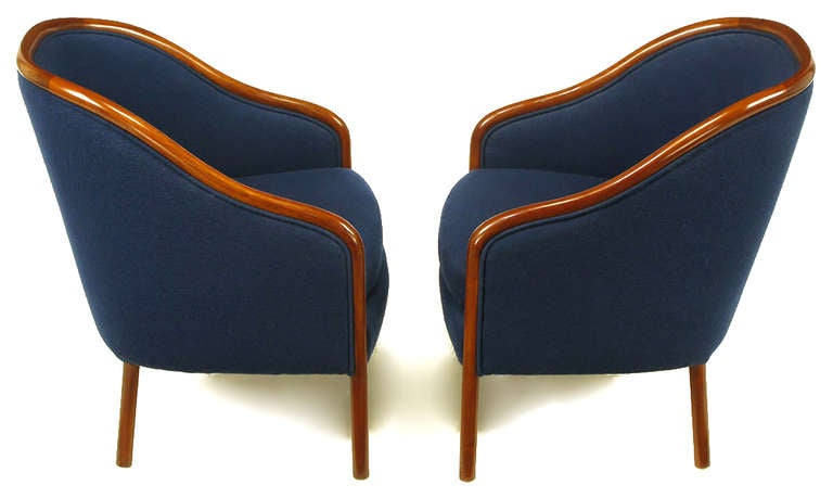 Pair of Ward Bennett Walnut and Wool Lounge Chairs 3
