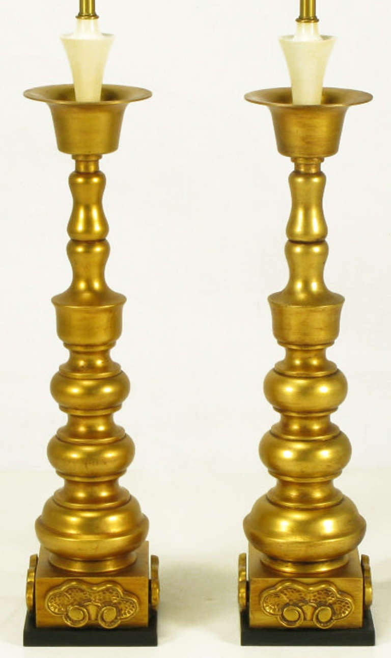 Pair of Marbro Gilt Baluster Form Table Lamps In Excellent Condition For Sale In Chicago, IL