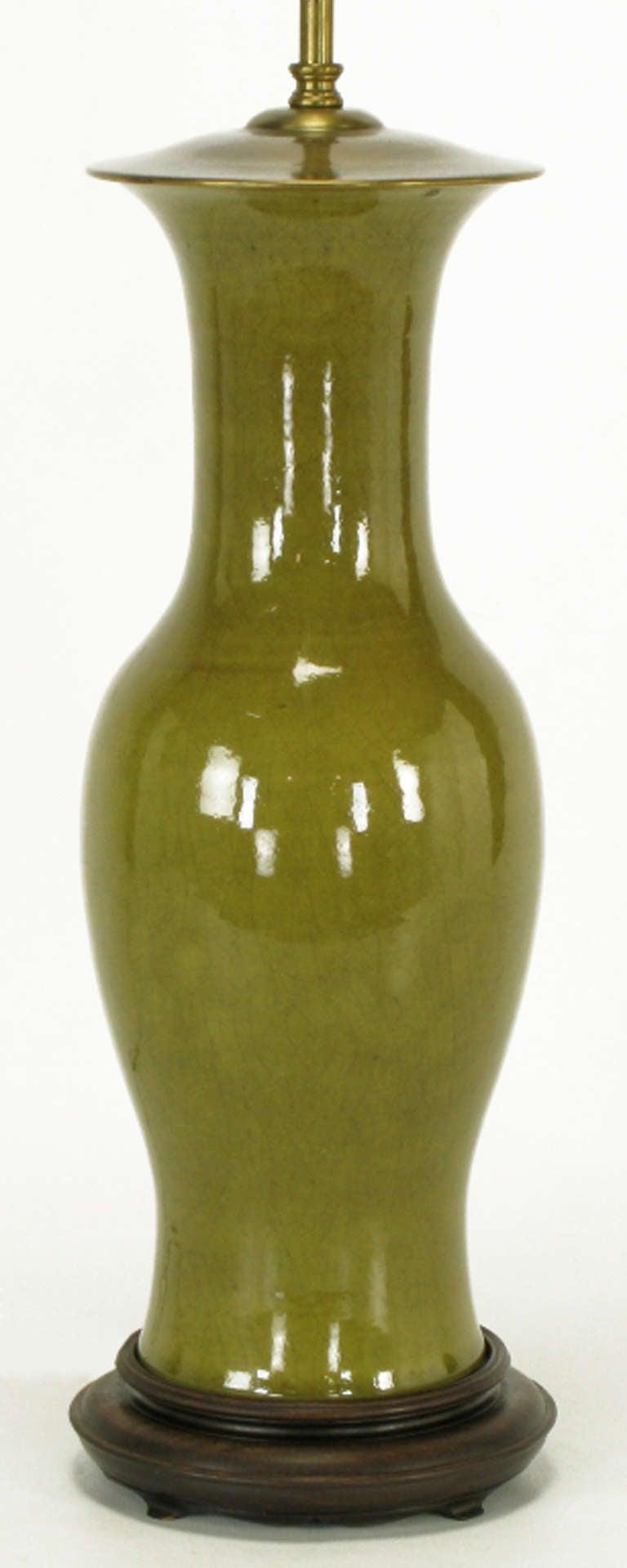 Warren Kessler Olive Green Crackle Glaze Table Lamp For Sale At 1stdibs
