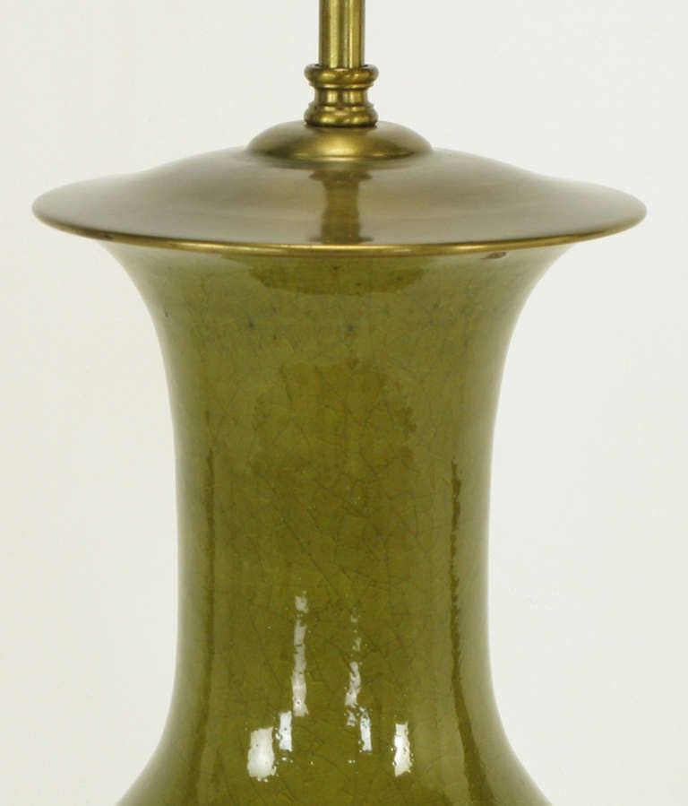 Warren Kessler Olive Green Crackle Glaze Table Lamp For