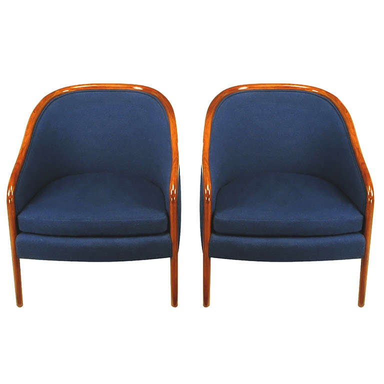 Pair of Ward Bennett Walnut and Wool Lounge Chairs 4